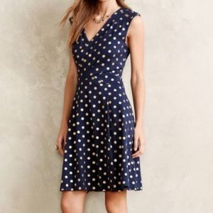 Maeve navy blue dress with gold polka dots